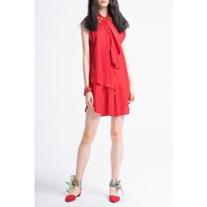 Button Front Ruffle Shirt Dress -