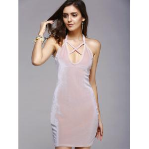 Charming Hollow Out Strappy Pure Color Skinny Women's Dress -