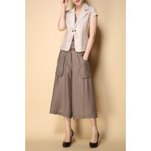 Short Sleeve Blazer and Wide Leg Pants -