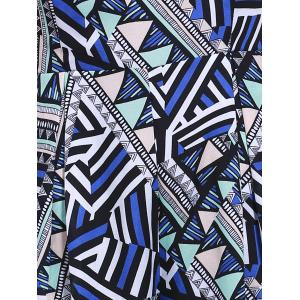 Fashionable Geometric Spaghetti Straps Jumpsuits For Women - GREY AND WHITE AND BLUE L