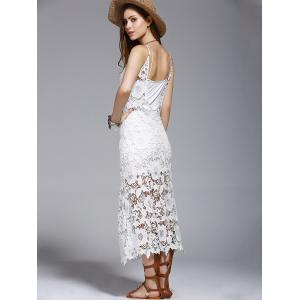 Crochet See-Through Lace Cover Up Dress - WHITE S