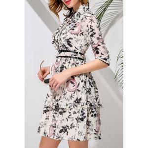 Single-Breasted Waisted Corset Print Dress -