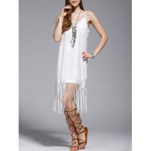 Fashionable Tassel Spaghetti Straps Hollow Out Dress For Women - White - M
