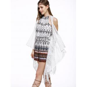 Chic Women's Lace Fringed Spliced Cover-Up - WHITE ONE SIZE(FIT SIZE XS TO M)