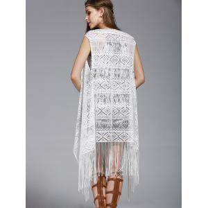 Lace frangée Spliced ​​Cover-Up de Chic Femmes - Blanc Taille Unique(S'adap