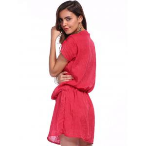 Sexy Plunging Neck Short Sleeve Beaded Drawstring Cover-Up For Women -