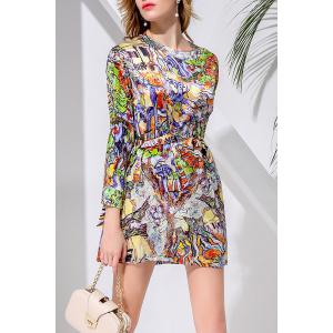 Waisted Corset Abatract Print Dress -