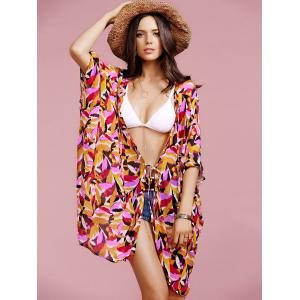 Stylish Plunging Neck Bat-Wing Sleeve Printed Chiffon Women's Cover Up -