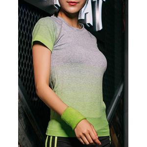 Ombre Short Sleeves Workout Gym Running T-Shirt - Green - L