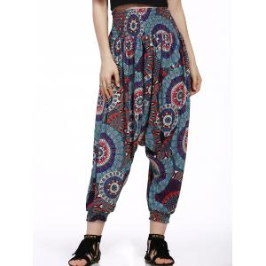 Printed Smocked Waistband Harem Pants - Black And White And Red - S