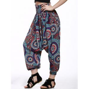 Printed Smocked Waistband Harem Pants - BLACK AND WHITE AND RED S
