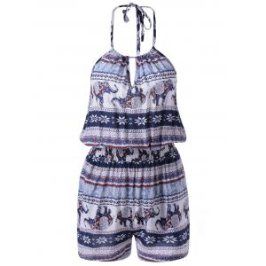 Simple Style National Design Spaghetti Strap Print Romper