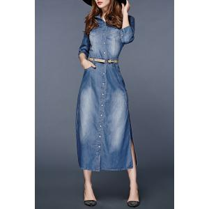 Button Up Denim Dress with Pockets -