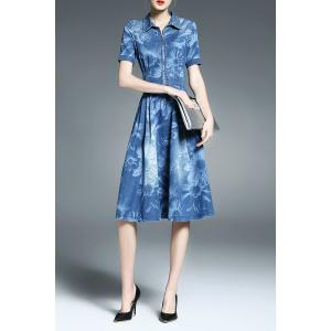Zipper Front Sunflower Print Shirt Denim Dress -