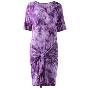 Fashionable Round Collar Short Sleeve T-shirt Dress - WHITE AND PURPLE L