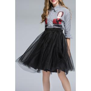 Striped Shirt and Orgnaza Skirt Twinset -