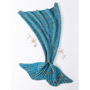 Fashionable Crocheted Knitted Fish Scale Tail Shape Blankets - BLUE