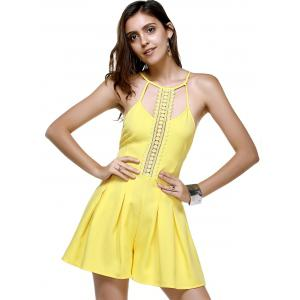 Trendy Lace Spliced Hollow Out Women's Yellow Romper -