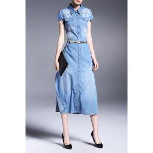 Button Detail Side Slit Denim Shirt Dress -