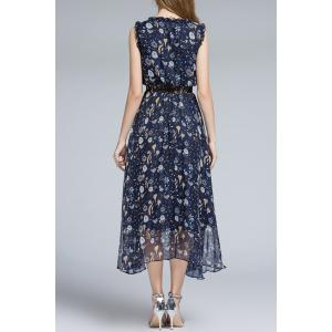 Sleeveless Frilled Neckline Midsummer Dress -