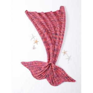 Stylish Rhombus Pattern Crocheted Knitted Mermaid Tail Shape Blankets - WATERMELON RED