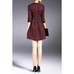 Checked Mini Dress with Belt - RED L