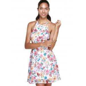 Mini Floral Halter Neck Backless Summer Dress - COLORMIX XL