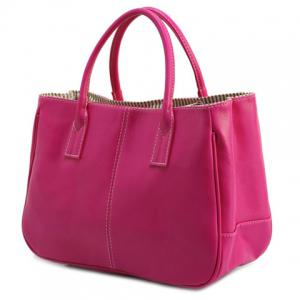 Concise Candy Color and PU Leather Design Tote Bag For Women - Rose Madder - 2xl