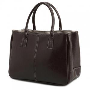Concise Candy Color and PU Leather Design Tote Bag For Women - Deep Brown