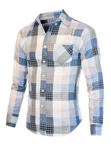 New Turn-Down Collar Checked Color Block Long Sleeve Shirt For Men BLUE L
