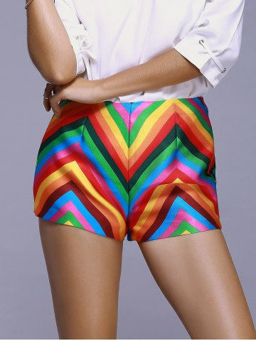 Fancy Fashionable Stripe Color Printing A Font Shorts For Women