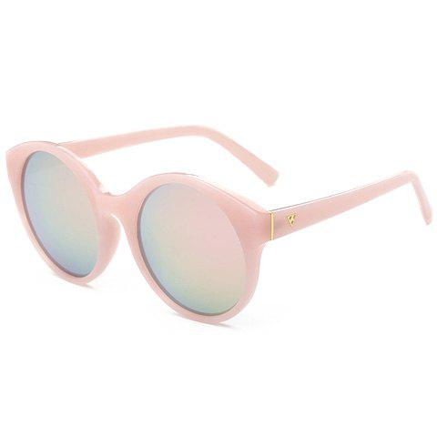 Best Stylish Round Flash Lens Solid Color Frame Mirrored Sunglasses For Women - PINK  Mobile
