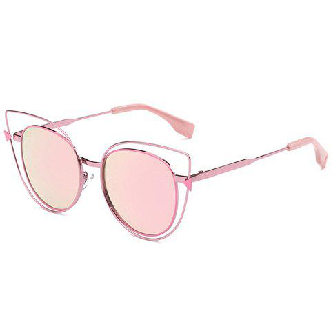 Stylish Cut Out Street Fashion Sweet Pink Cat Eye Mirrored Sunglasses For Women - PINK