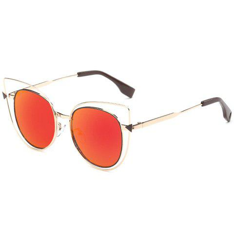 Shop Stylish Cut Out Street Fashion Two Color Match Cat Eye Mirrored Sunglasses For Women