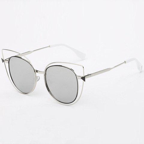 Best Stylish Cut Out Street Fashion Two Color Match Cat Eye Mirrored Sunglasses For Women