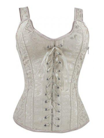 Shop V-Neck Lace Up Corset - S APRICOT Mobile