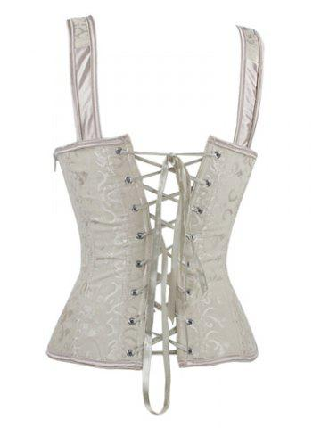 New V-Neck Lace Up Corset - 2XL APRICOT Mobile