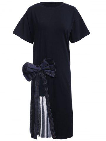 Outfits Refreshing Women's Bowknot Decorated Voile Furcal Tee Dress