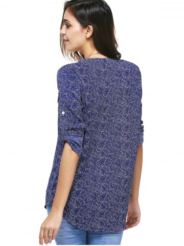 Outfit Zipper Fly Tunic Blouse - XL DEEP BLUE Mobile