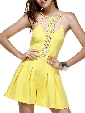 Fashion Trendy Lace Spliced Hollow Out Women's Yellow Romper