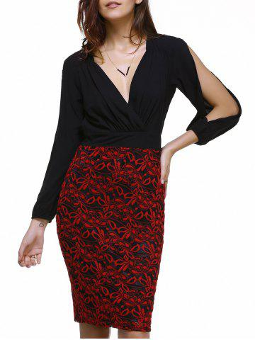 Buy Fashionable Plunging Neck Lace Splicing Split Sleeve Dress For Women