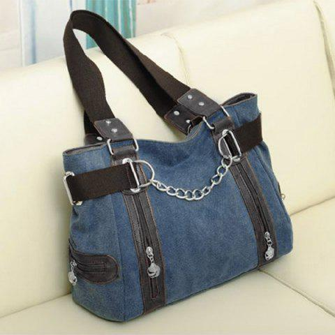 Chic Casual Chain and Canvas Design Tote Bag For Women BLUE