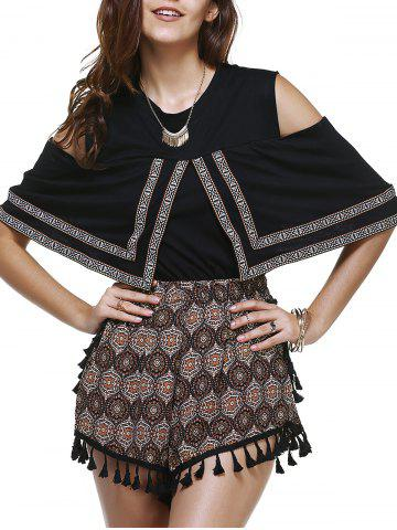 Affordable Ethnic Style Geometry Embroideried Tee + Totem Print Shorts Twinset For Women