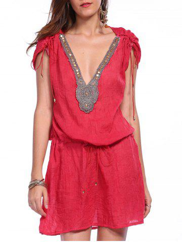 Shops Sexy Plunging Neck Short Sleeve Beaded Drawstring Cover-Up For Women