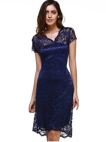 Discount Sweet Short Sleeve V-Neck Women's Lace Dress