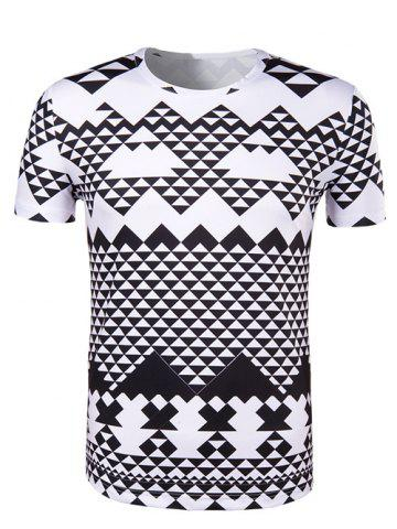 Fashion Round Neck Irregular Geometric Print Short Sleeve T-Shirt For Men WHITE AND BLACK 2XL