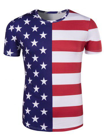 Trendy Round Neck The Stars and The Stripes Print Short Sleeve T-Shirt For Men COLORMIX 2XL