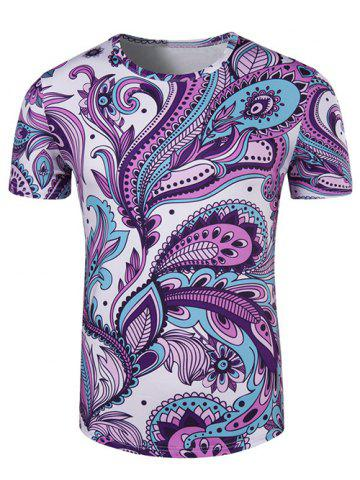Latest Round Neck Ethnic Style Paisley Print Short Sleeve T-Shirt For Men COLORMIX L