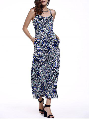 Hot Fashionable Geometric Spaghetti Straps Jumpsuits For Women GREY AND WHITE AND BLUE L