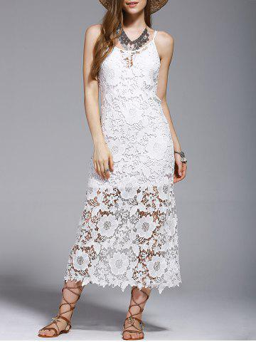Shop Crochet See-Through Lace Cover Up Dress WHITE S